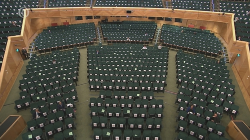 Due to the Covid-19 pandemic, the Dáil is sitting at the Convention Centre in Dublin
