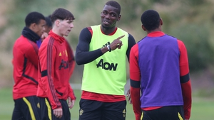 Paul Pogba having a laugh with his team-mates at a United training session during the week