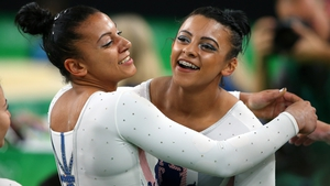 Ellie Downie embraces her sister Becky during the 2016 Olympic Games