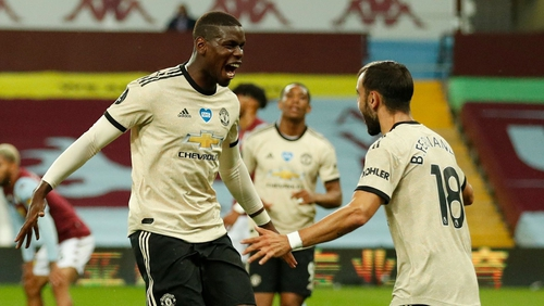 Paul Pogba celebrating a goal at Villa Park