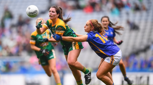 Shauna Ennis, left, comes under pressure from Tipperary's Niamh Lonergan during last year's All-Ireland Ladies Intermediate final