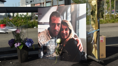 A photo of Philippe Monguillot and his wife Veronique in Bayonne, where locals left flowers in tribute to him