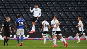 Aleksandar Mitrovic (C) celebrates scoring Fulham's first goal