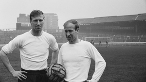 Charlton poses alongside his brother Bobby ahead of his first England cap in April 1965.  He was just one month shy of his 30th birthday when first capped (Picture credit: Norman Quicke)