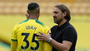 Daniel Farke with Republic of Ireland U21 striker Adam Idah at the final whistle