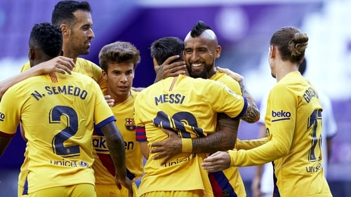 Arturo Vidal is mobbed after his goal