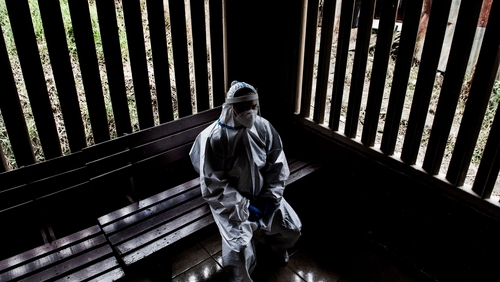 A health worker rests at a health centre in Costa Rica