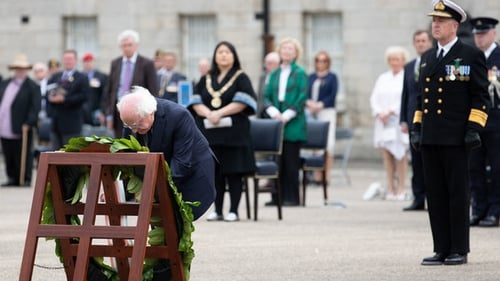 President Micheal D Higgins laid a wreath at the commemoration