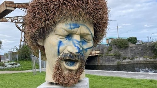 The statue has been vandalised with blue spray paint (Image: North Wall community association)