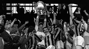 Offaly captain Padraig Horan lifts the Bob O'Keeffe cup in 1980
