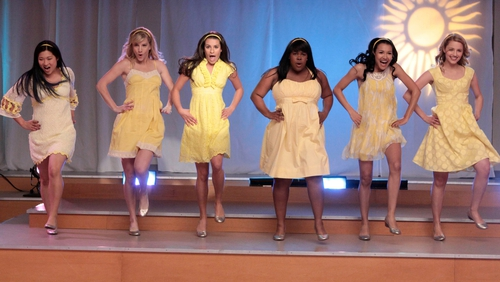 Doing what she did best: Naya Rivera and the girls in the Glee Club perform a mashup. Pictured (left to right): Jenna Ushkowitz, Heather Morris, Lea Michele, Amber Riley, Naya Rivera and Dianna Agron.