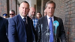British politician Nigel Farage heads for the dry cleaners after having a milkshake thrown over him in Newcastle Upon Tyne during the 2019 European election campaign. Photo: Ian Forsyth/Getty Images