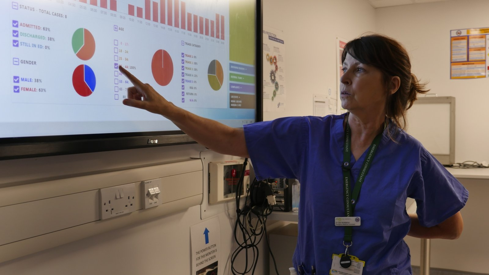 Image - Prof Geraldine McMahon, reviewing live patient data on the hospital dashboard