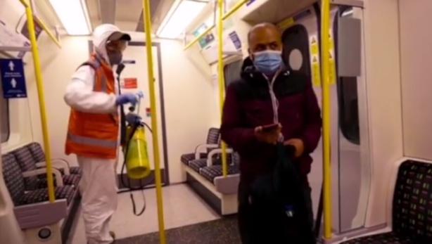 Banksy tags a coronavirus message on the London Underground