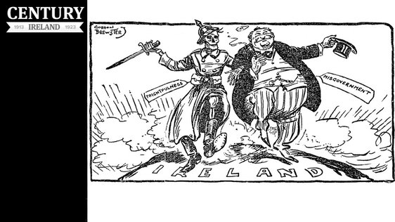 Century Ireland Issue 183 - A cartoon suggesting that 'frightfulness' and 'misgovernment' are in ruling Ireland in partnership Photo: Sunday Independent, 25 July 1920