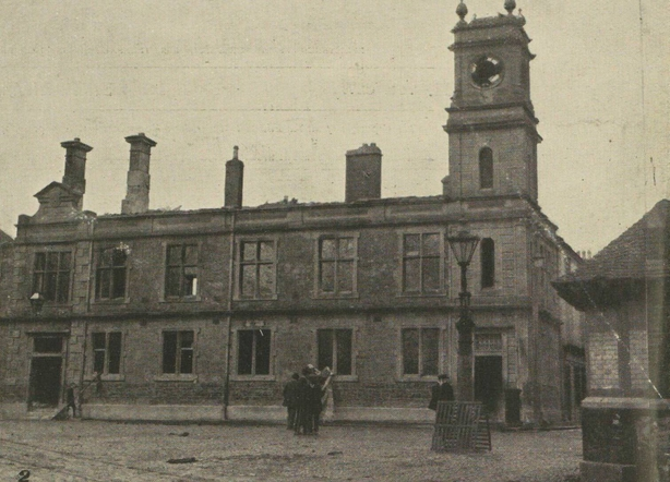 Tuam Town Hall, which was badly damaged when the town was 'sacked' by members of the Royal Irish Constabulary Photo: Illustrated London News [London, England], 31 July 1920
