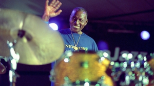 Elvin Jones greets the crowd at the North Sea Jazz Festival in Holland in 2002, two years before his death at the age of 76.