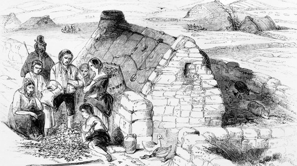 1846: A destitute family during The Great Famine (1845 - 1849).