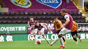Chris Wood of Burnley scores from the spot