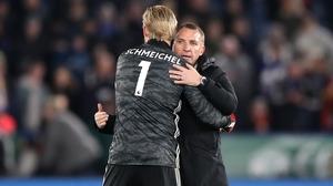 Brendan Rodgers (R) and Kasper Schmeichel