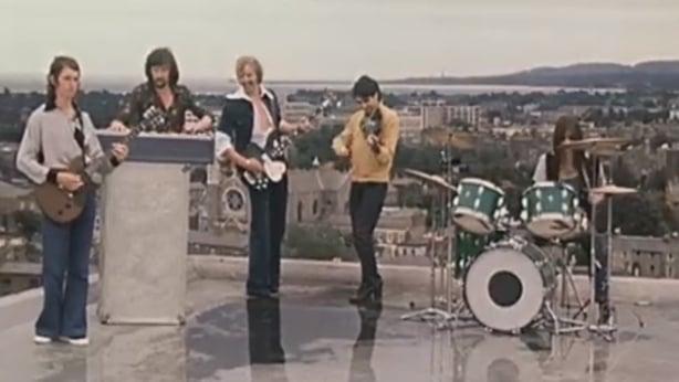 Horslips on the roof of Bank of Ireland on Baggot Street, Dublin (1976)