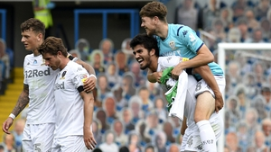 Leeds players celebrate a crucial win