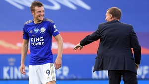 Leicester City manager Brendan Rodgers congratulates striker Jamie Vardy at the full-time whistle