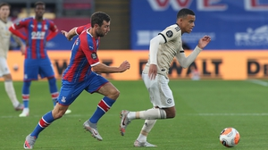 Mason Greenwood up against Crystal Palace's James McArthur