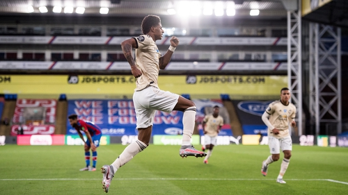 Marcus Rashford celebrates his goal at Selhurst Park