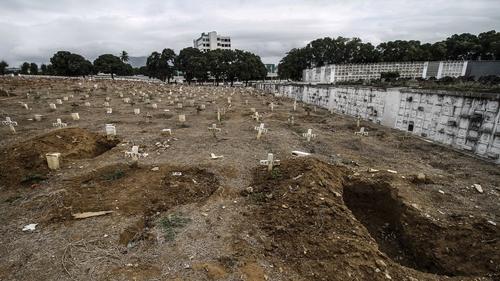 Open graves at the Caju cemetery in Rio de Janeiro, Brazil today amidst the coronavirus pandemic