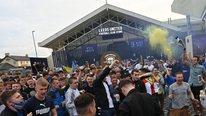 Leeds supporters gather outside Elland Road