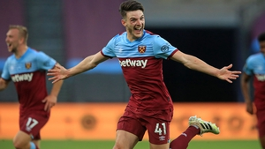 West Ham's Declan Rice celebrates his superb goal