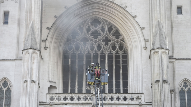 Fire rips through Nantes cathedral