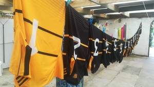 The club only has one set of jerseys, so the kitman is kept busy