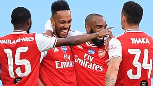 Pierre-Emerick Aubameyang (second from left) scored in both halves