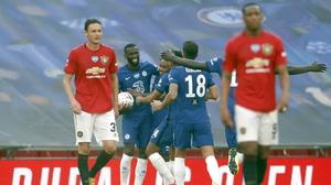 Chelsea players celebrate Antonio Rudiger's goal