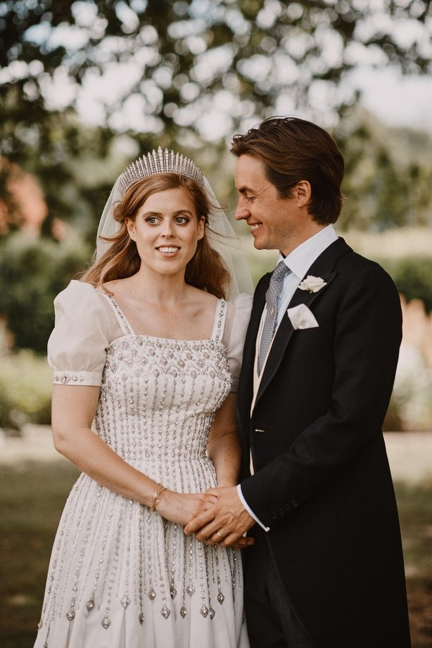 Princess Beatrice and Edoardo Mapelli Mozzi In the grounds of the Royal Lodge after their wedding