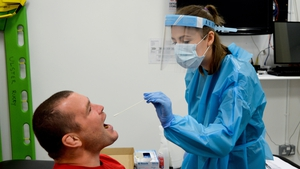 Ulster and Ireland prop Jack McGrath is given a Covid-19 test by a healthcare worker during an Ulster training session