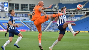 Newcastle's Jonjo Shelvey, left,and Brighton's Dale Stephens battle for possession