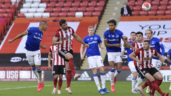 Richarlison heads to score Everton's goal away to Sheffield United
