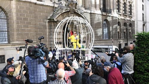 United Kingdom designer Vivienne Westwood leads protest supporting Julian Assange