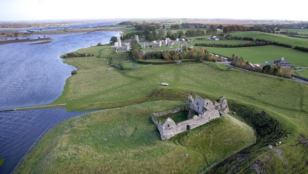 Aerial shot of the monastic settlement of Clonmacnoise, part of Paul Clements' journey along the Shannon banks.