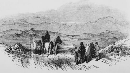 A funeral cortege at Shepperton Lakes, West Cork, Ireland during the Great Famine (aka the Irish potato Famine), 1847. Sketch by James Mahony. Originally published in The Illustrated London News, 13th February 1847 (Source: Getty Images)