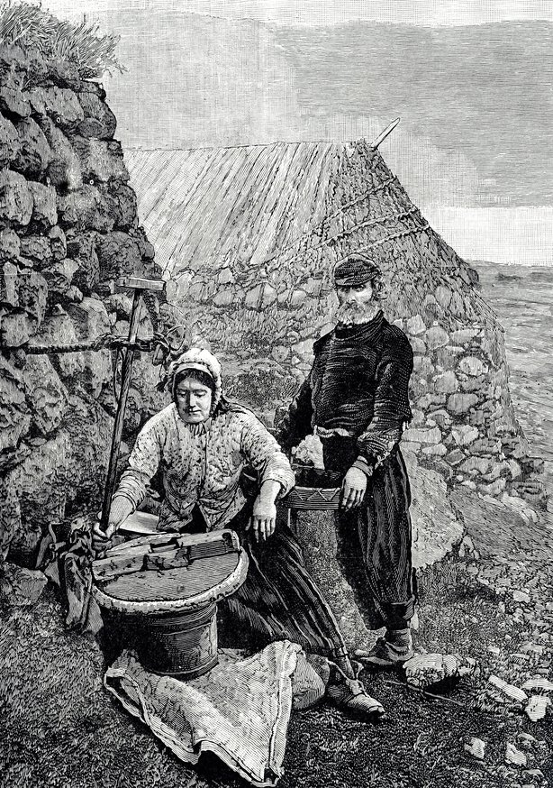 Engraving depicting sky crofters grinding corn using a hand mill or quern. Dated 19th century. (Photo by: Universal History Archive/Universal Images Group via Getty Images)