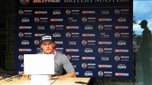 Eddie Pepperell of England is pictured during a virtual press conference at the British Masters