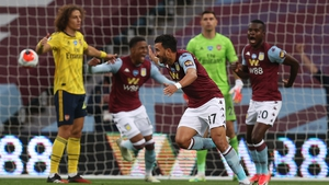 Trezeguet celebrates the only goal of the game at Villa Park