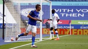 Jamie Vardy celebrates hitting the century mark against Palace