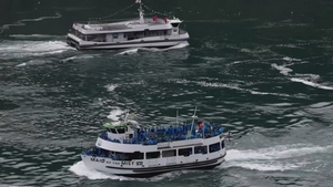 Canadian ferries (top) at Niagara Falls are limited to just six passengers per boat