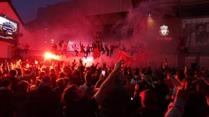Thousands of Liverpool fans gathered outside the stadium as inside the team beat Chelsea 5-3