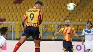 Gianluca Lapadula heads home for Lecce